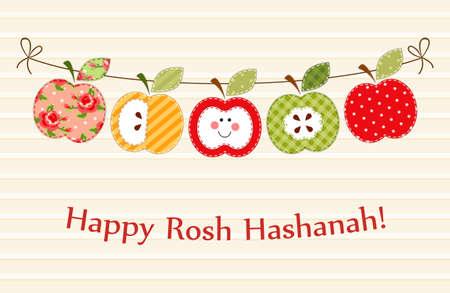 Cute bright apples garland as Rosh Hashanah Jewish New Year symbols  イラスト・ベクター素材