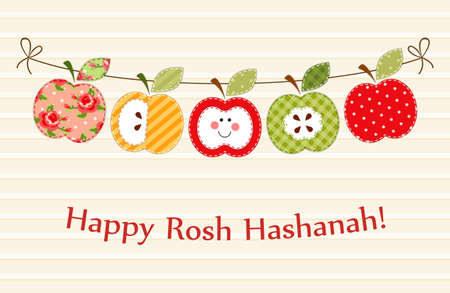 Cute bright apples garland as Rosh Hashanah Jewish New Year symbols Çizim