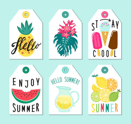 Cute set of hand drawn summer elements