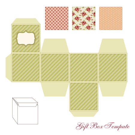 Cute retro square gift box template with shabby chic ornament to print, cut and fold!
