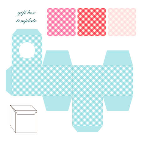 Cute retro square gift box template with gingham ornament to print, cut and fold Illustration