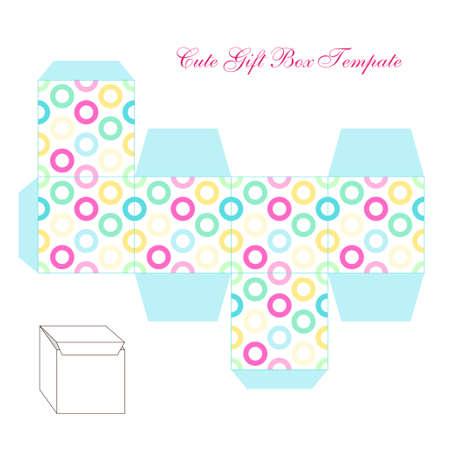 Cute retro square gift box template with circles ornament to print, cut and fold Ilustração