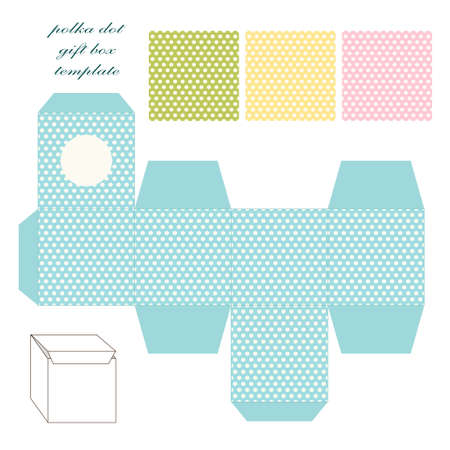Cute retro square gift box template with polka dots ornament to print, cut and fold