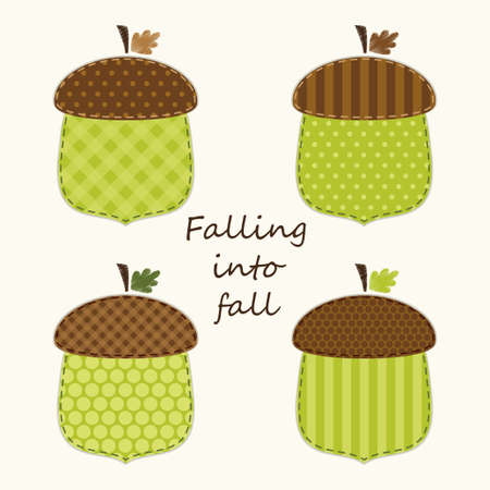 Retro fabric applique of cute acorns in shabby chic style