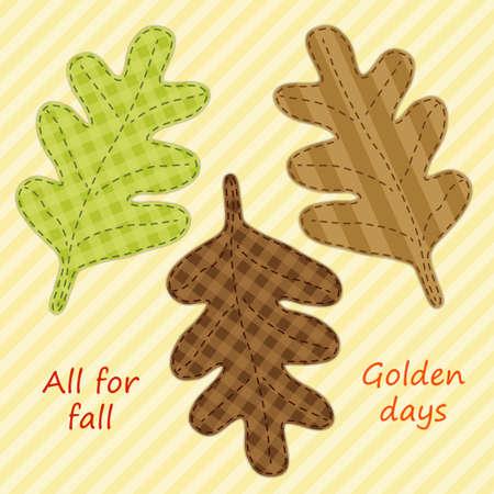 Cute handmade autumn leaves as retro fabric applique