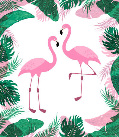 Cute exotic with cartoon characters of two pink flamingos.