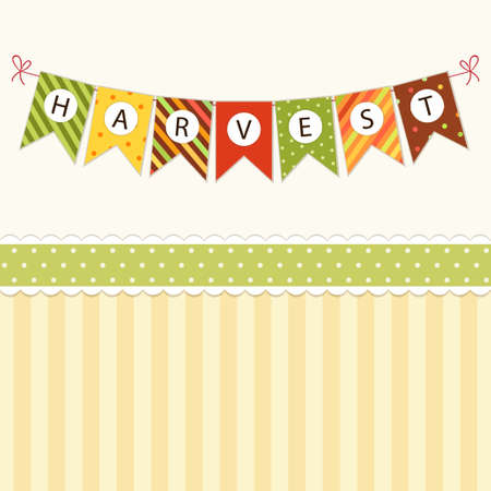 Cute autumn bunting flags with letters in traditional colors Vectores