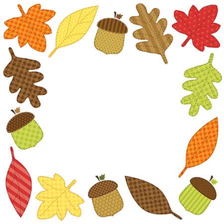 レトロの生地アップリケとして葉でかわいい秋フレーム
