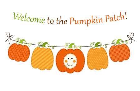 Cute autumn garland with pumpkins in traditional colors Illustration