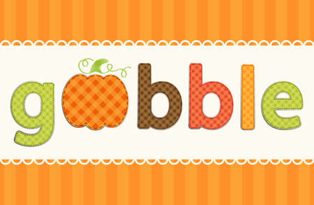Thanksgiving retro applique of fabric gingham letters and cute pumpkin in autumn colors
