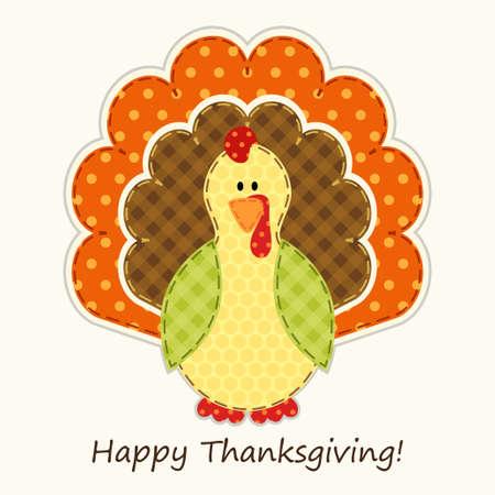 伝統的な色でレトロの生地アップリケとしてかわいいの感謝祭の七面鳥