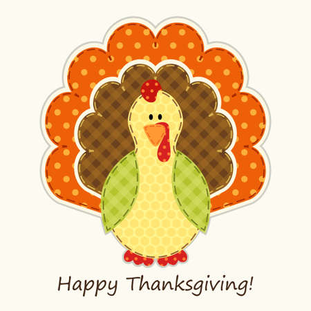 Cute Thanksgiving turkey as retro fabric applique in traditional colors Çizim
