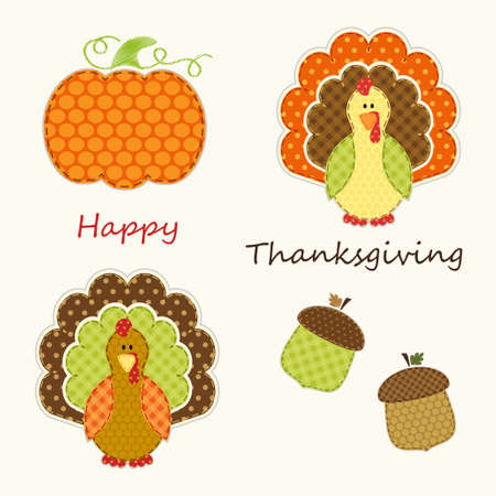 Cute Thanksgiving elements as retro fabric applique in traditional colors Çizim