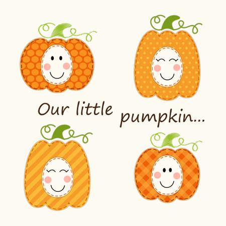 Cute Thanksgiving elements as retro fabric applique in traditional colors Illustration