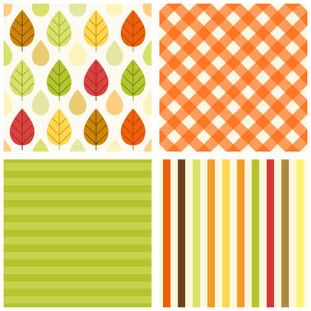 Set of four primitive retro seamless patterns with leaves and rain drops, gingham and striped Stock Photo