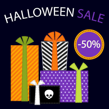 Cute retro festive present boxes with ribbons in traditional autumn colors as Halloween Sale banner for your decoration