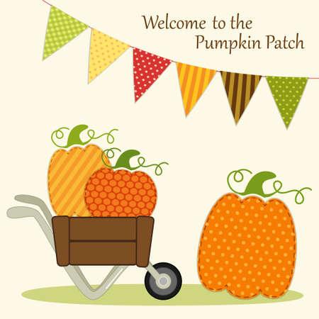 De leuke kaart van het Pompoenflard met heldere bunting vlaggen in traditionele de herfstkleuren en verschillende pompoenen in kruiwagen