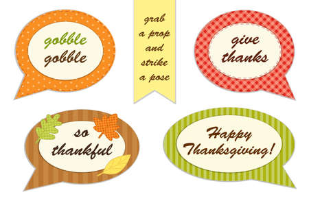 fall leaves: Cute set of Thanksgiving speech bubble photo booth props Illustration