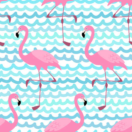 Cute exotic tropical seamless background with cartoon characters of pink flamingos 矢量图像
