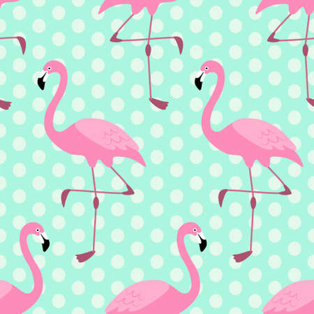 Cute exotic tropical seamless background with cartoon characters of pink flamingos Illustration