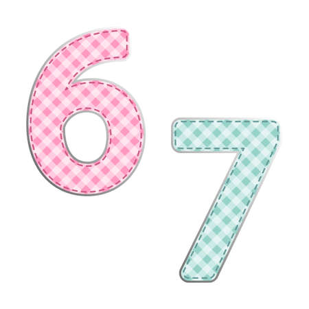 Fabric retro numbers in shabby chic style for your decoration