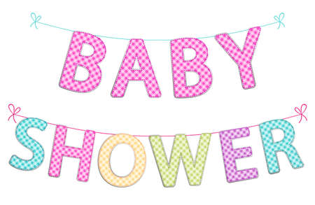 Cute festive garlands for baby shower with gingham letters of different bright colors for your decoration