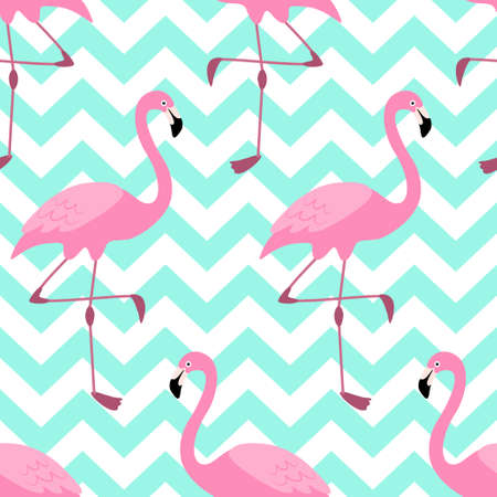 Cute exotic tropical seamless background with pink flamingos