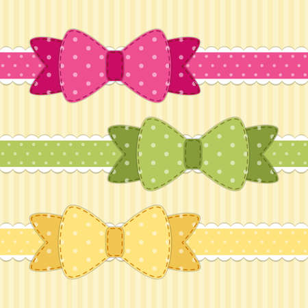 scraps: Set of different retro fabric bows in shabby chic style