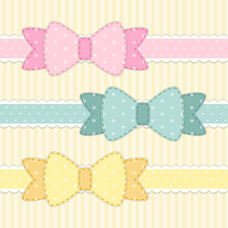 Set of different retro fabric bows in shabby chic style for your decoration Иллюстрация