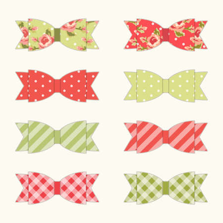 Set of 8 different retro fabric bows in shabby chic style for your decoration
