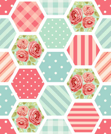 Cute seamless vintage pattern as patchwork in shabby chic style ideal for kitchen textile or bed linen fabrics 일러스트