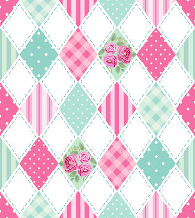 Cute seamless vintage pattern as patchwork in shabby chic style ideal for kitchen textile or bed linen fabrics Illustration