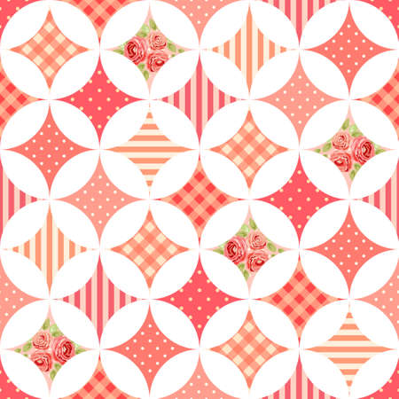 Cute seamless vintage pattern as patchwork in shabby chic style ideal for kitchen textile or bed linen fabrics, curtains, carpets, tablecloth, wallpaper design, can be used for scrap booking paper etc Stock fotó - 82767178