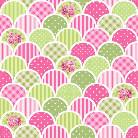 scalloped: Cute seamless vintage pattern as patchwork in shabby chic style ideal for kitchen textile or bed linen fabrics, curtains, carpets, tablecloth, wallpaper design, can be used for scrap booking paper etc