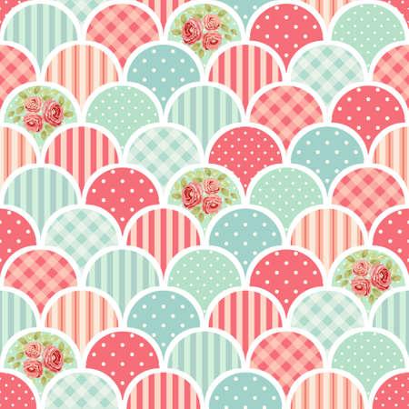 Leuk naadloos vintage patroon als patchwork in sjofele chique stijl, ideaal voor keukentextiel of beddengoed stoffen, gordijnen, tapijten, tafelkleed, behangsontwerp, kan gebruikt worden voor het boeken van papier, enzovoort. Stock Illustratie