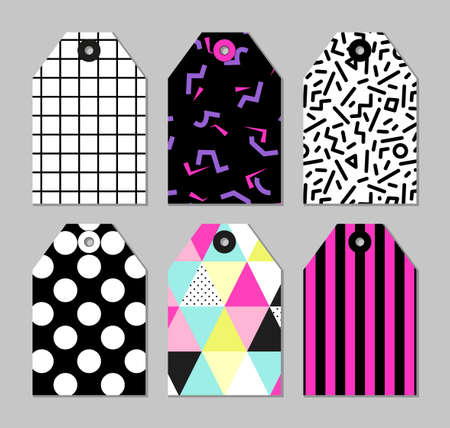 shoppping: Cute set of 80s and 90s style trendy tags