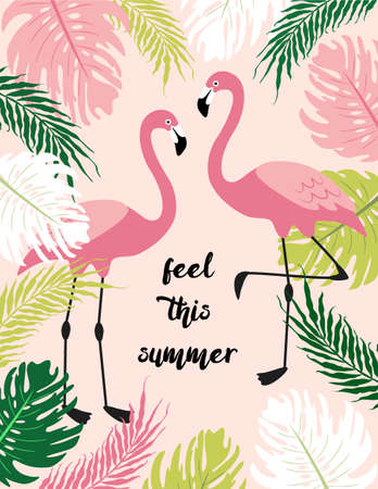 Cute exotic tropical background with cartoon characters of two pink flamingos