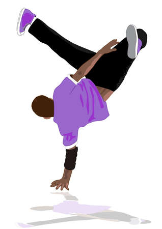 80s and 90s style street break dancer performance, can be used for party flyer etc Illustration