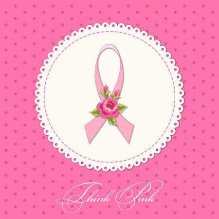 Vintage Breast Cancer Awareness card with pink ribbon