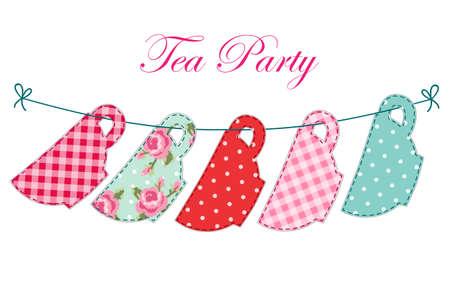 ティー パーティーのレトロなアップリケとして紅茶のカップのかわいいガーランド  イラスト・ベクター素材