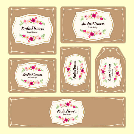 Hand drawn floral elements for branding and identity. Ilustração