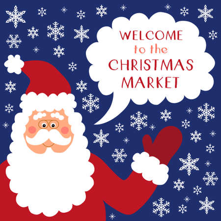 Cute Retro Banner With Funny Cartoon Character Of Santa Claus ...
