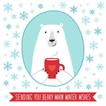 christmas tree illustration: Cute retro banner with funny cartoon character of polar bear for your decoration Illustration