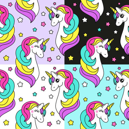 Cute set of childish seamless patterns with cartoon character of magic unicorn, can be used for kids fabrics design as bed linen, baby clothing as pajamas etc
