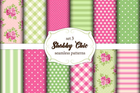 Set of 12 cute seamless Shabby Chic patterns with roses, polka dots. stripes and plaid Illustration