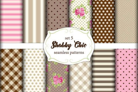 Set of 12 cute Shabby Chic patterns with roses, polka dot and plaid, ideal for kitchen textile or bed linen fabric or interior wallpaper design, can be used for scrap booking paper etc