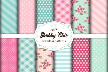 Set of 12 cute shabby chic patterns with roses, polka dots. stripes and plaid. Illustration