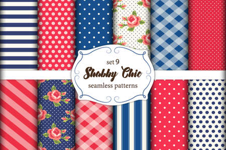 Set of 12 cute seamless Shabby Chic patterns with roses, polka dots. stripes and plaid.