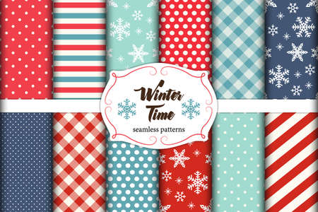 Set of 12 cute seamless Winter Time patterns with traditional ornaments