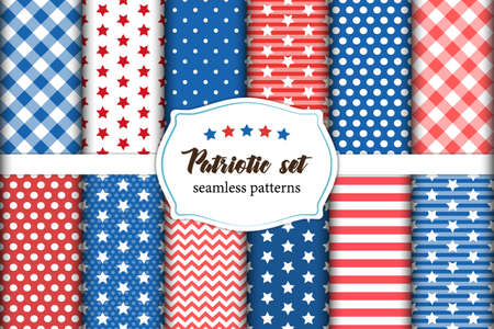 Cute set of American patriotic red, white and blue geometric seamless patterns with stars.
